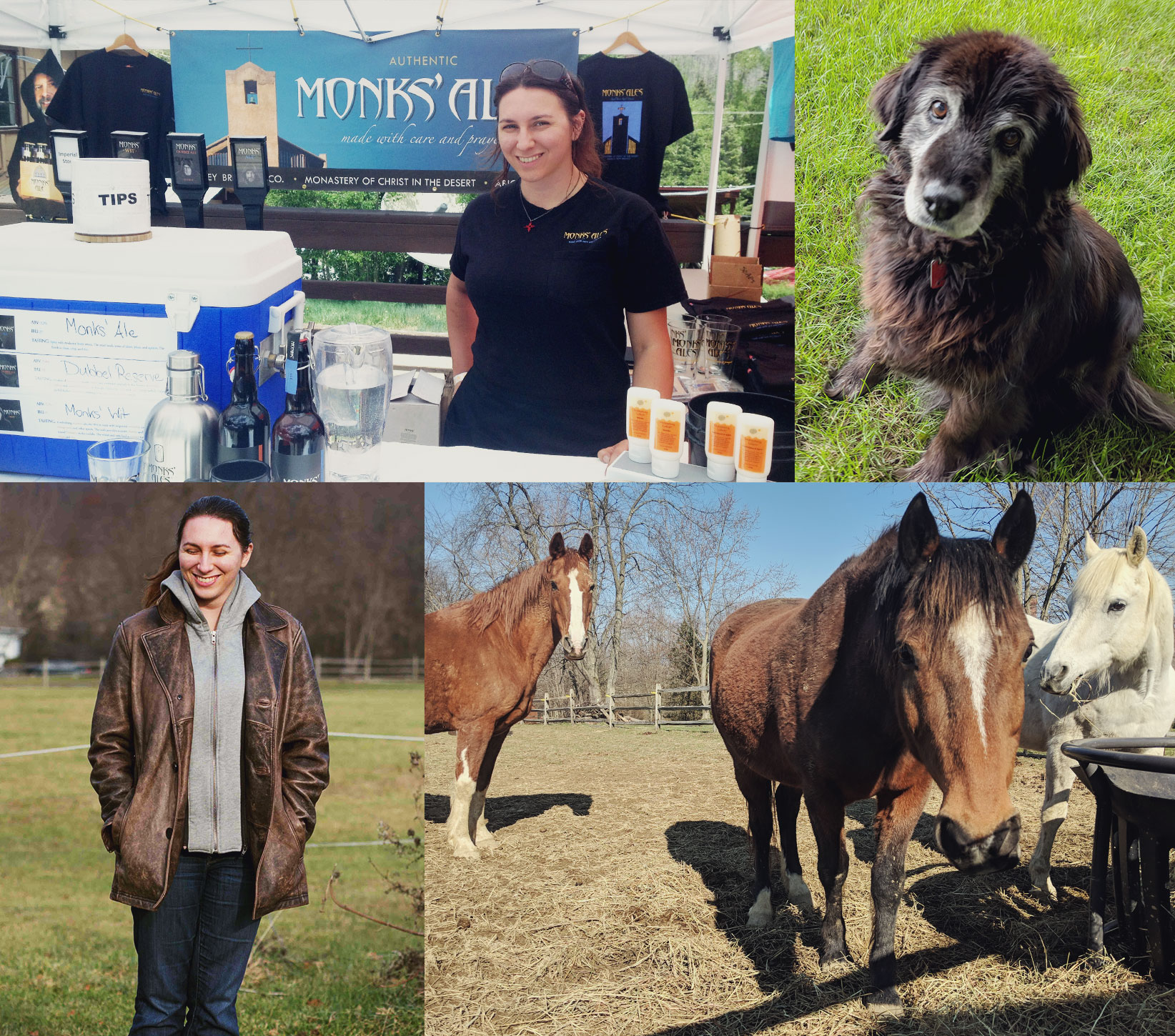 Collage of Laura with her 3 horses and dog